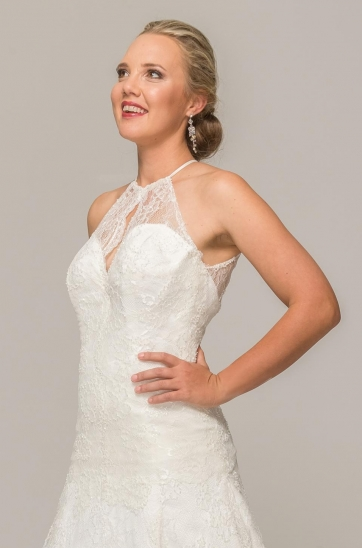 Illusion sweetheart neckline, French Chantilly lace, ivory, fit and flare silhouette, Ilse Roux Bridal, Bellville, Cape Town, scalloped hem.