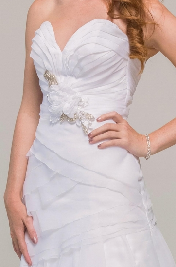 White French Voile layered rouging on the bodice of this dramatic wedding gown