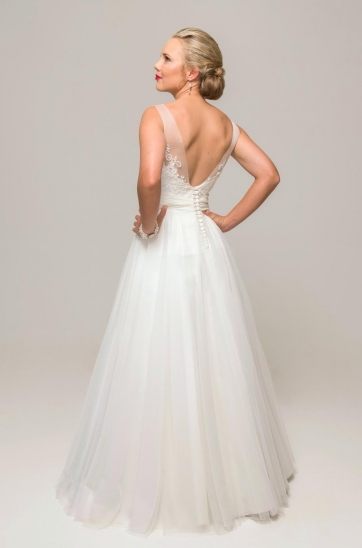 Illusion V-Back, soft tulle ball gown,  Ilse Roux bridal, Bellville Cape Town