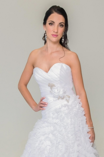 white,frilled wedding dress with rouged bodice beaded floral embellishment on the bodice Cape Towm Bridal shop