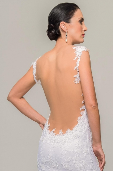 Designer wedding gown with illusion low back, illusion straps, stretch inner for a figure flattering fit, Ilse Roux Bridal, Bellville, Cape Town