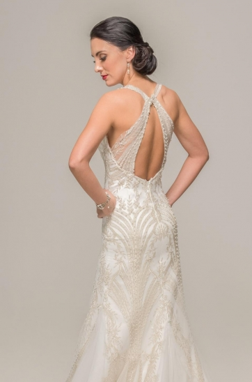 Oasis wedding gown, Gatsby inspired, symmetrical design, Ilse Roux bridal, Bellville, Cape Town