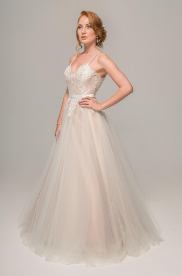 Blush wedding dress with French Chantilly lace, spaghetti straps, soft tulle, Ilse Roux Bridal, Bellville, Cape Town