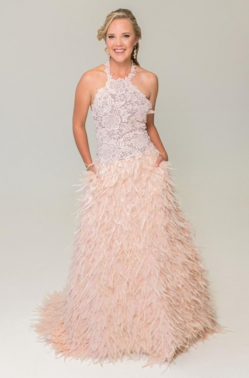 Blush feathered skirt and lace top Designer wedding gown Cape Town Bridal shop
