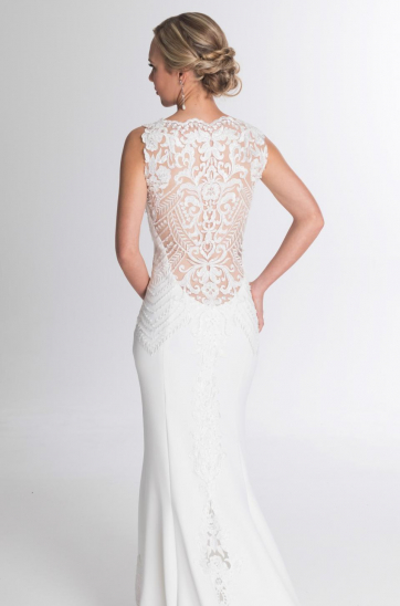 Beaded lace, low back cathedral train with scalloped edge Cape town wedding dresses custom made dress